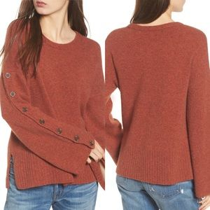 Madewell Rust Button Sleeve Pullover Sweater